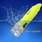 ELINKUME Linterna de Buceo, LED T6 Profesional Linterna de Submarinismo, 1000 Lúmenes BrillanteAl Aire Libre Impermeable para Iluminar el Mundo Submarino para ti (Amarillo Fluorescente)