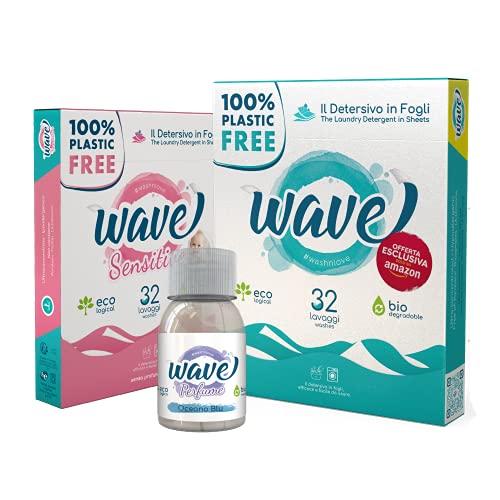 Wave Washing Family Box - Il Detersivo in Fogli - 100% PLASTIC FREE - 64 lavaggi - Classic & Sensitive + Wave Perfume - Ecologico - Biodegradabile - Compostabile