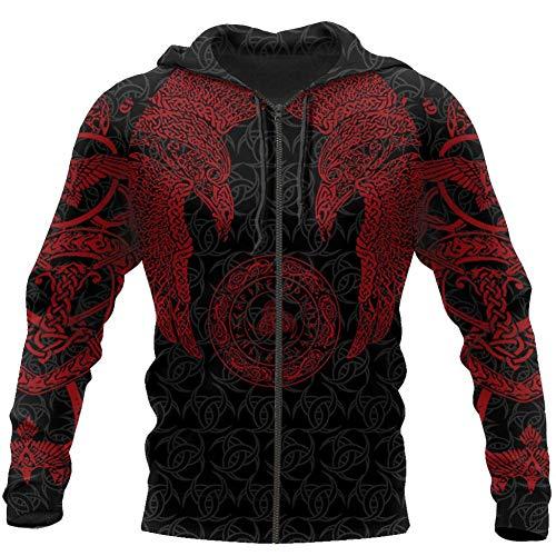 WLXW Vintage Odin Crow Hoodie, Nordic Mythology Viking Tattoo 3D-Bedrucktes Pullover-Sweatshirt, Herbstmode Unisex Langarm Harajuku Street Jacket,Red Hoodies Zip,L