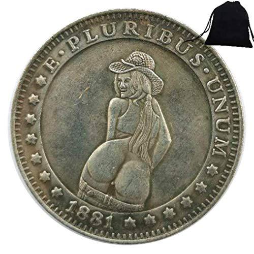 FKaiYin 1881 handgeschnitzte alte Münze – Strohhut, Nickelmünze, US alte Münzen sammeln + KaiKBax Tasche – Morgan Dollars Münze für Ehemann/Paar Zukunft Erfahrung