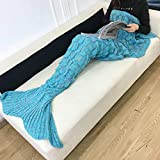 Mermaid Tail Blanket, Knitting Crochet Mermaid Couch Blanket Warm Comfortable Fish Scale Pattern Sleeping Bag Knitting Blanket with Kids Adult Gift-216x90cm-E