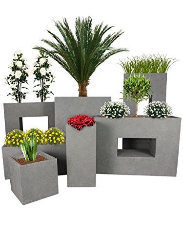 Pflanzwerk® Maceta Cube Gris 23x23x23cm *Resistente a Las heladas* *Protección UV* *Calidad Europeo*