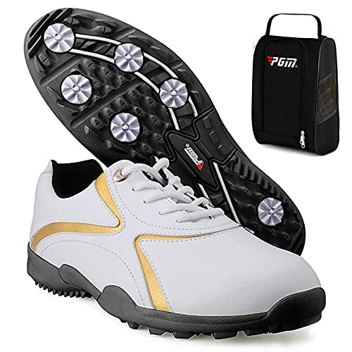Shhyy Zapatos De Golf Ligeros Impermeables para Hombres,Deportes De Exterior Nordic Walking Calzado para Caminar Botas De Golf Profesionales Grandes Golf Shoes+Golf-Bolsa De Zapato,Blanco,44