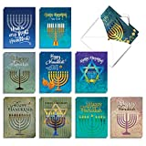 The Best Card Company - 20 Hanukkah Cards Boxed (10 Designs, 2 Each) - Assorted Religious Chanukah Notecards, Jewish Holiday - Hanukkah Lights AM6140HKG-B2x10