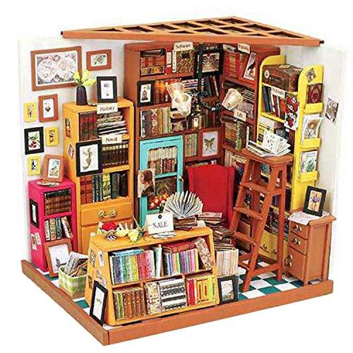 Facibom Home Decor Figurine Diy Sam Study Room Wood Miniature Model Kits Decoration Dollhouse for Kids