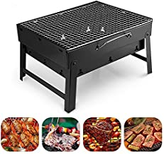 Veniveta Charcoal Grill,Folding Portable Lightweight Barbecue Grill Tools, 17x11.6x9 Inch Mini BBQ Grill for Outdoor Backyard Camping Picnic Beach Cooking