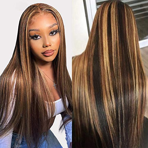 Straight Highlight Lace Front Wigs Human Hair 4×4 Lace Closure Wigs for Black Women 26 Inch Ombre Blonde Lace Front Wig Human Hair Pre Plucked With Baby Hair