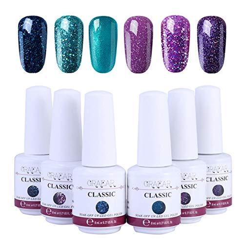 Wottdungs Gel Nail Polish Set 6Pcs, UV LED S-Oak Off Gel Polish Nail Art Kit, Perfect Charm Color Glitter Nail Polish, Manicure Gel Nail Kit for Beginner 8ml,Shipping from USA 3-15 Days Arrived