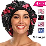 Silk Bonnet for Women, XL Large Stain Silk Bonnet for Natural Hair, Women Sleep Cap Bonnets With Comfortable Wind Band (4 Pack)