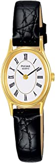 Pulsar- Quartz Ladies Gold Plated White DIAL Black Strap Watch