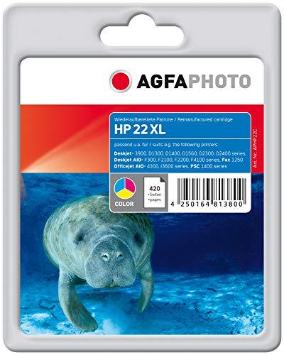 AgfaPhoto Tintenpatrone mehrfarbig kompatibel zu HP22 (C9352AE) geeignet für HP Deskjet 3920/3941