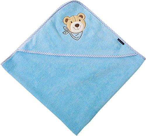 Morgenstern Kleinkinder Kapuzenbadetuch Handtuch mit Kapuze 100 x 100 cm blau hellblau 100% Baumwolle