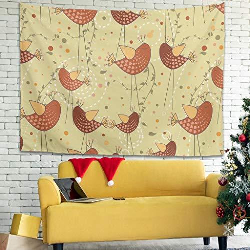 WellWellWell Tapiz multifuncional para colgar en la pared, diseño de pájaros rojos, color blanco, 150 x 130 cm