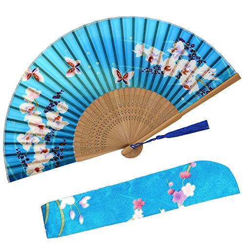 Zolee Small Folding Hand Fan - Chinese Japanese Vintage Bamboo Silk Fans - for Dance, Performance, Decoration, Wedding, Party,Gift (Lanhua-WZS-33) 0208