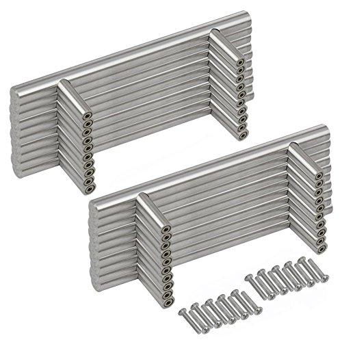 Griffe-Tür Küche T Bar Griffe Hochwertige Schublade Tür aus Edelstahl, Silber, 40 PCS