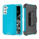 Szfirstey Case with Belt-Clip Holster for Galaxy S21 , Drop Full Body Rugged Shock Dust Proof 3-Layer Military Rugged Phone Cover Heavy Duty for Samsung Galaxy S21 (Teak/Light Green)