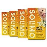 Marchio Amazon - Solimo - Strisce depilatorie viso con profumo di vaniglia, tessuto non tessuto delicato con 4 salviette post-depilazione, Confezione da 4x20 strisce
