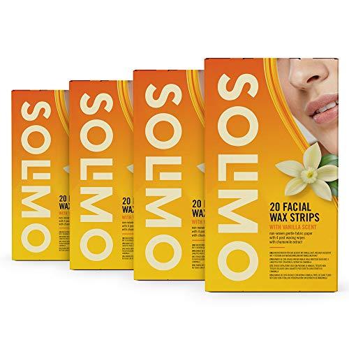 Amazon-Marke: Solimo Wachsstreifen für das Gesicht mit Vanille-Duft, nicht gewebtes, weiches Stoffpapier mit 4 Post-Epilationstüchern (4  x 20 Wachsstreifen)