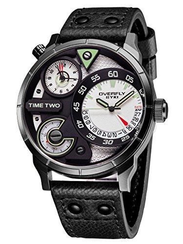 Alienwork Herren-Armbanduhr Quarz schwarz mit Lederarmband Kalender Datum Weiss Multi Zeitzonen XL Über-große