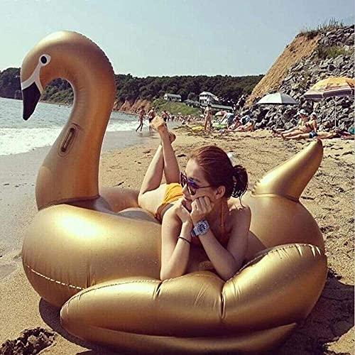 QUQU Verano New Golden Swan flotando Fila Juguetes inflables, PVC Natación Anillo Flamenco Cama Flotante reclinable...