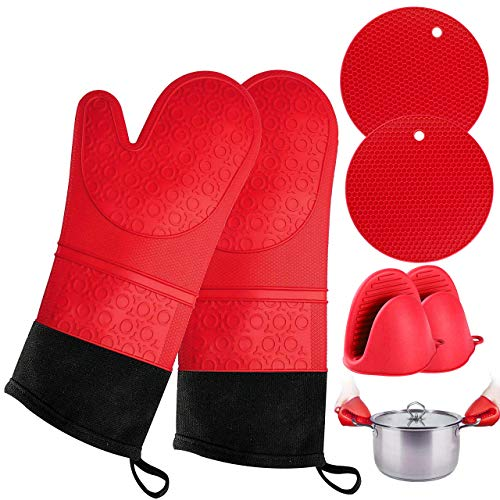 Oven Mitts and Pot Holder- Extra Long Silicone Oven Mitt Heat Resistant with 2 trivets & Mini Pinch Oven Mitts-Food Safe Baking Gloves for Cooking in Kitchen with Soft Inner Lining