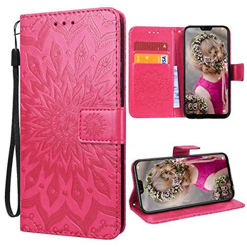VemMore für Huawei Mate 20 Lite Hülle Handyhülle Schutzhülle Leder PU Wallet Flip Case Bumper Lederhülle Ledertasche Blumen Muster Klapphülle Klappbar Magnetisch Dünn Silikon Sonnenblume - Rot