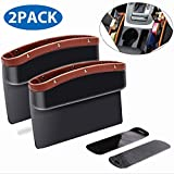 ifory 2 Pack Car Seat Gap Filler and Organizer, Universal Car Gap Pocket for Drop Caddy, Crevice Storage Box for Cellphone/Wallet/Key/Card with Non-Slip Mat (Brown)