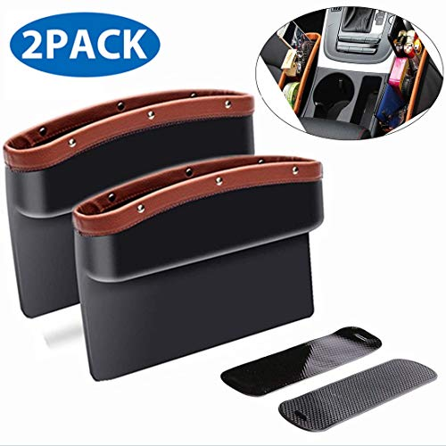 ifory 2 Pack Car Seat Gap Filler and Organizer, Universal Car Gap Pocket for Drop Caddy, Crevice Storage Box for Cellphone/Wallet/Key/Card with Non-Slip Mat