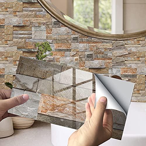 Exnemel Pegatinas de Azulejos para baño Cocina Autoadhesivas Impermeables transferencias de Azulejos de Pared de Metro Papel Pintado de Vinilo con Efecto de azulejo de cerámica DIY (C,12)