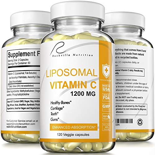 Rockville Nutrition Liposomal Vitamin C - High Absorption Immunity Booster Rich in Antioxidants Natural VIT C Supplement - Buffered- Fat Soluble-Vegan Friendly Collagen Booster Capsules