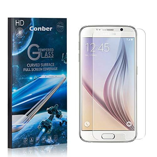 Conber [4 Pièces] Verre Trempé pour Samsung Galaxy S6, [9H Dureté][sans Bulles][Haut Définition] Ultra-résistant Film de Protection écran pour Samsung Galaxy S6