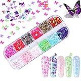 Kalolary 12 Colores Mariposa Lentejuelas Holográficas de Uñas Nail Art Decoración Purpurinas Confeti Uñas Nail Art Glitter Brillos para Manicura y Diseños de Uñas (D)