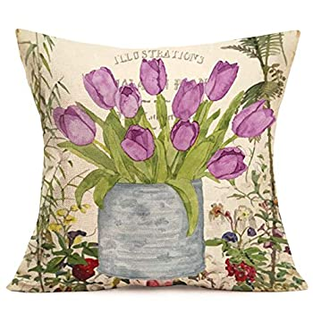 Aremetop Throw Pillow Covers Vintage French Romantic Purple Tulip Flower Potted Plant Cotton Linen Throw Pillow Case Cushion Cover Home Sofa Decorative 18''x18'' Best Gift for Mother's Birthday