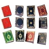 jojofuny 12 miniaturas de libros para casa de muñecas, libro de modelo en miniatura, casa de muñecas, muebles, manualidades, accesorios para casa de muñecas