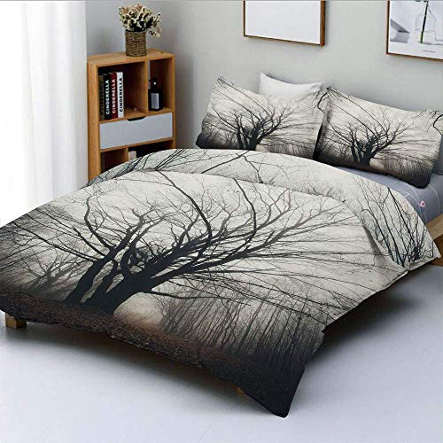 Jojun Duvet Cover Set,Vertical Photo of Autumn Tree in Dark Haunted Foggy Mist Mysterious Forest PictureDecorative 3 Piece Bedding Set with 2 Pillow Sham,Grey,Best Gift For Kids & Ad Easy Care Ant