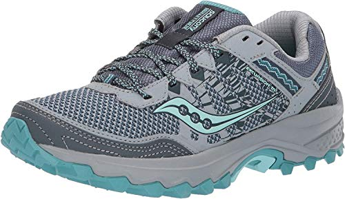 Saucony Women's Grid Excursion TR12 Trail Running Shoe, Grey/Teal, 8 M US