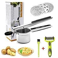 hotlike schiacciapatate acciaio, 6 pcs potato ricer set, schiaccia patate in acciaio inox con 3 colini sostituibili, spazzola, pelapatate, pressa professionale per purè di patate, frutta, verdure