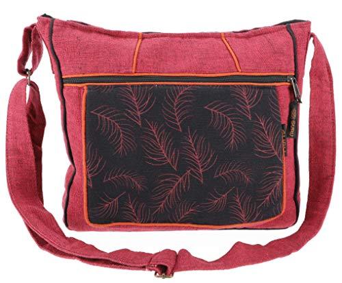 GURU SHOP Ethno Schultertasche, BohoTasche Feder, Nepal Tasche - Bordeauxrot, Herren/Damen, Baumwolle, Size:One Size, 30x33x5 cm, Alternative Umhängetasche, Handtasche aus Stoff
