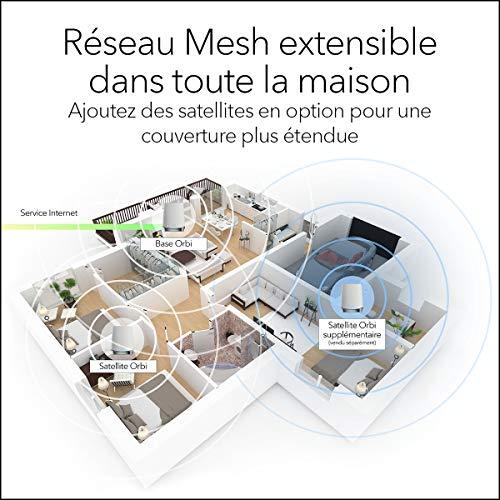 NETGEAR Système WiFi 6 Mesh Tri Bandes Orbi (RBK753), Pack de 3, Routeur WiFi 6 AX4200, WiFi jusqu'à 4.2 Gbit/s, Couverture WiFi Mesh performante de 525m², idéal murs épais, compatible toutes box