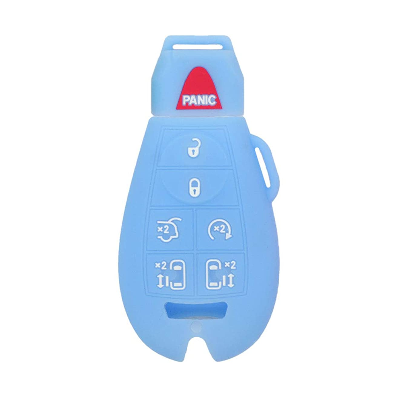 SEGADEN Silicone Cover Protector Case Skin Jacket fit for JEEP CHRYSLER DODGE 7 Button Smart Remote Key Fob CV4758 Light Blue