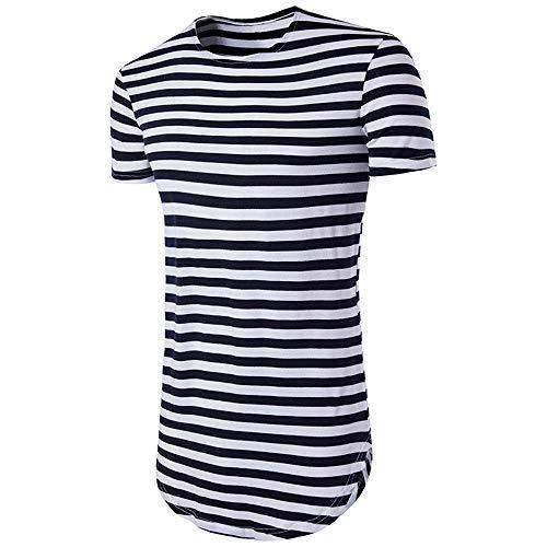 Tops Hombre Verano Rayas Slim Fit Moderno Hombre Camisa Deportiva Cuello Redondo Manga Corta Funcional Shirt Básica Elástica Correr Shirt Casual Transpirable Hombre T-Shirt B-Navy Blue XXL