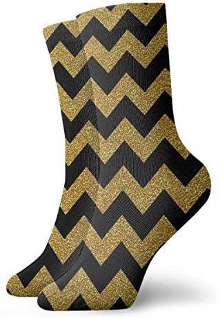 Zwart En Goud Chevron Sokken Klassieke Leisure Sport Korte Sokken 30cm118 inch Geschikt Voor Mannen Vrouwen
