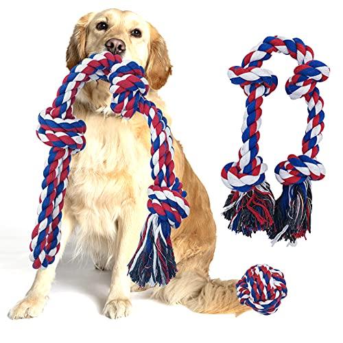 Giochi per Cani Grandi, Corda Giocattolo per Cani in 100% Cotone, Per La Salute Dentale e Pulizia dei Denti del Cane, Set Giochi Cane Resistenti e Interattivi 3 Pezzi