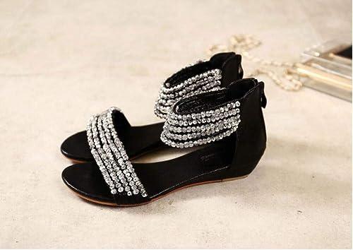 LXYYBFBD Sandales pour Femmes,Les Femmes Noires D'été D'été Sandales Strass Perles De Bohème à Talons Bas en Style Romain Chers Chaussures pour Femmes Sandales  service honnête
