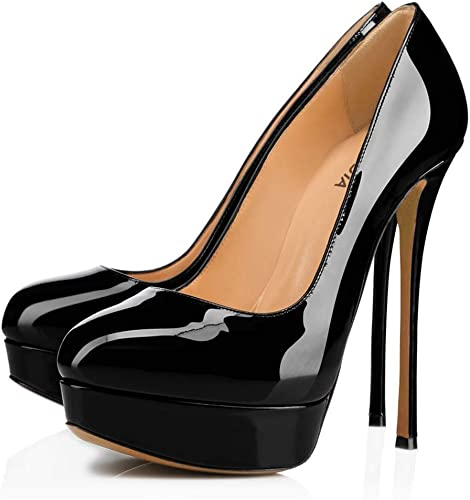 Chaussures à Talons Hauts en PU pour Femmes avec tête Ronde et Plateforme imperméable (Couleur   Noir, Taille   43)
