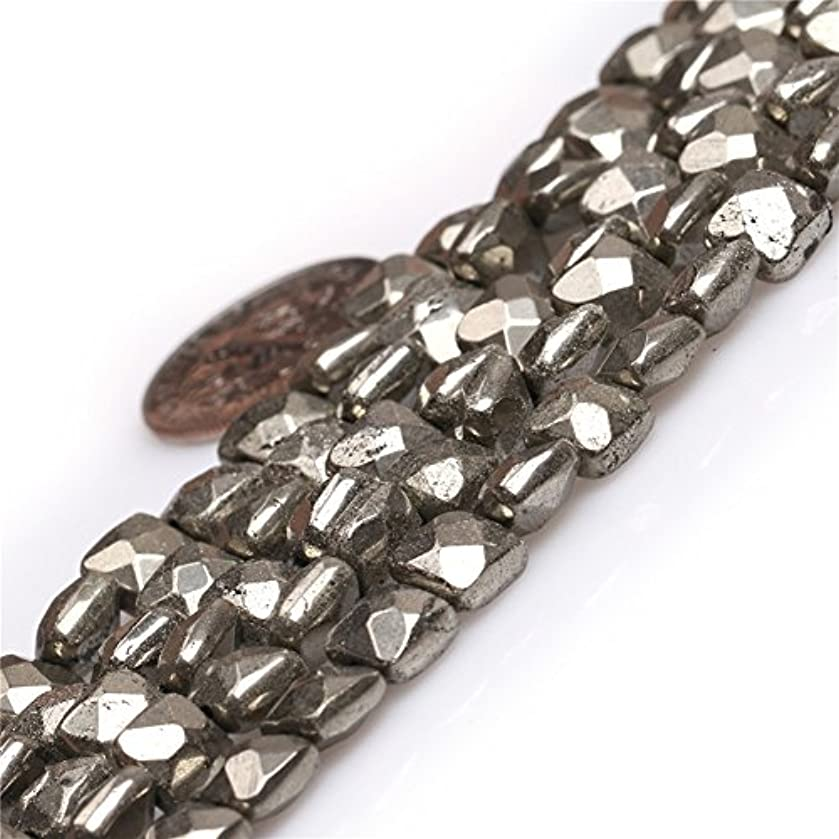 Pyrite Beads for Jewelry Making Natural Gemstone Semi Precious 6mm Silver Gray Faceted Square 15