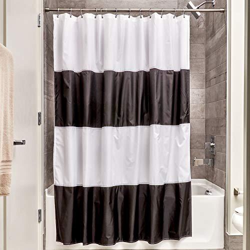 iDesign Zeno Duschvorhang Textil | wasserdichter Duschvorhang mit Streifen | waschbarer Duschvorhang in der Größe 183,0 cm x 183,0 cm | Polyester schwarz/weiß