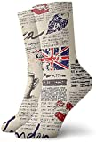 zhkx Novelty Funny Crazy Crew Sock Newspaper London Printed Sport Athletic Socks 30cm Long Personalized Gift Socks