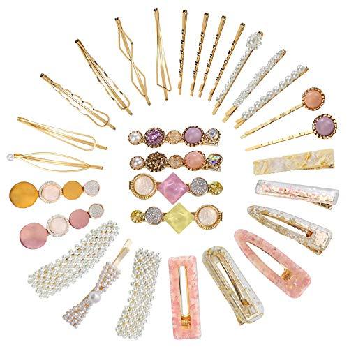 VEGCOO 30 Piezas Clips de Pelo, Pinzas Pelo de Diamantes de Imitación, Horquilla de Metal, Accesorios de Pelo para Mujer Chica y Niña (B)