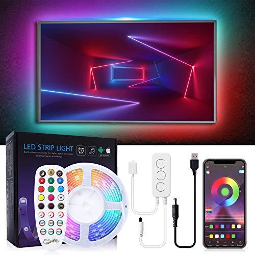 Bewahly LED TV Hintergrundbeleuchtung 5M, Dreamcolor RGB LED Strip mit eingebautem IC, APP Steuerung USB LED Strip mit Fernbedienung, Fernseher Beleuchtung LED Band für 65-85 Zoll HDTV, PC-Monitor